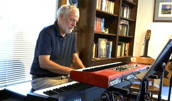 Mark at his keyboards